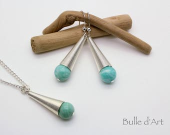 Amazonite stone cone pendant necklace