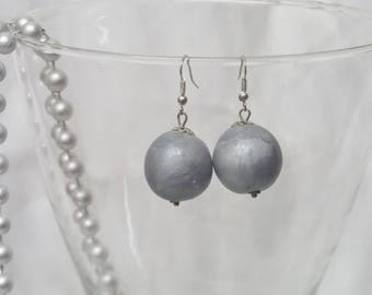Pearl gray polymer clay earrings