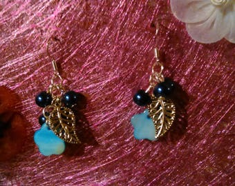 Blue cluster earrings