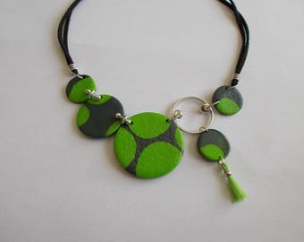 Clay called polymer in shades of green and grey necklace