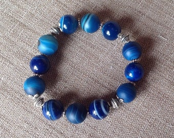 Striped blue agate and silver beads stretch bracelet.