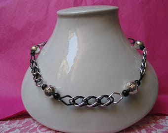 Filigree Silver Aluminum and black/ball chain necklace