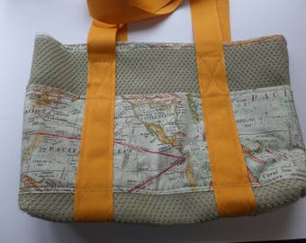 Tote Bag with Outer Pockets for Shopping, Books, School, Market, Diapers, Knitting and Sewing Projects. Sage, Orange and Map Fabric