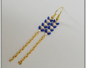 Gold Chevron ears blue enameled earrings