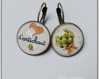 Earrings, vintage glass, heart, love, Valentine's day