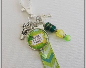 Glass cabochon, mojito, Keep calm and drink mojito bag charm