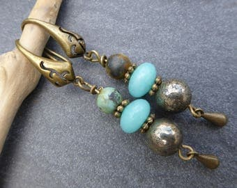 Bohemian, green and bronze earrings