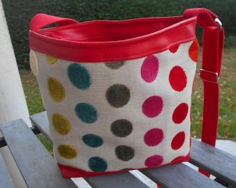 Red and beige shoulder bag / red and beige bag / shoulder bag women