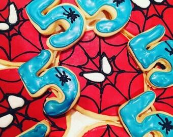 Custom Sugar cookies: Spiderman and Birthday Number
