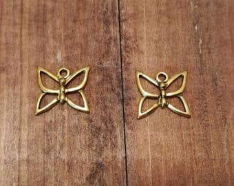 Pair of Gold coloured metal butterfly charms