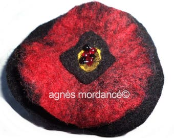 """Winter poppy"" felted wool flower brooch 9 cm - felted wool, beads - unique"