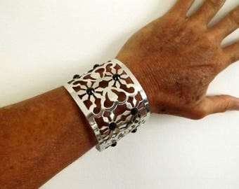Arabesque Silver gift for her idea black rhinestone Cuff Bracelet