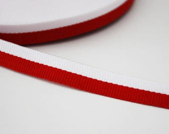 Ribbon look coarse 10 mm, red and white, 1 m