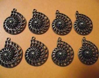 Set of 2 large charms / pendants fossil snail, bronze color. 3,6 cm x 2.8 cm.
