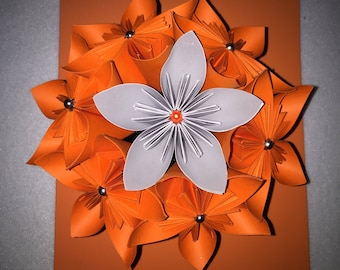 Terra cotta pot and origami flowers