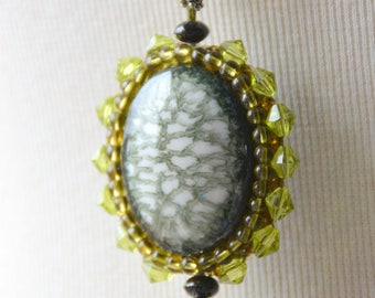 Necklace with porcelain oval element - khaki Green