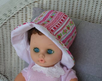 baby Sun Hat designer linen ' cotton eva was pink and white