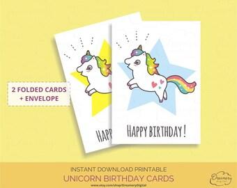 Unicorn birthday card printable, Kawaii cute rainbow unicorn and star happy birthday greeting cards with envelope download