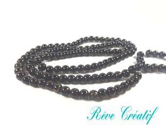 20pcs Perles 6mm en Verre Peint Noir Marbré Or Doré