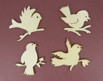 Wooden subjects embellishment: four birds