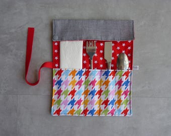 Case/pouch in grey/red cotton covered