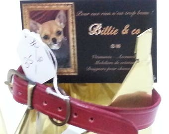 Fine red leather dog collar