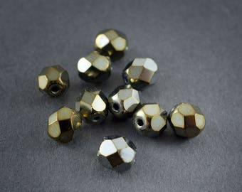 10pcs - small glass Czech beads round spacers, faceted Bohemian • bronze metallic shiny 6mm