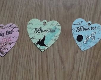 3 heart tags for your scrapbooking creations.