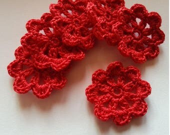 Crochet red cotton flower applique