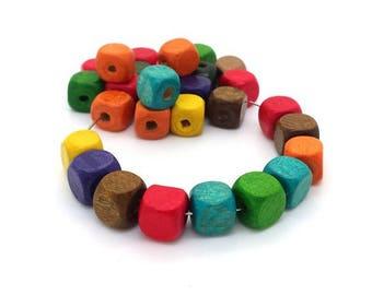 30 (pb64) 10mm square wood beads