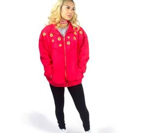 Circa 1990's Retro Red Bomber jacket