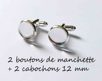 1 pair cufflinks + 2 12 mm cabochons