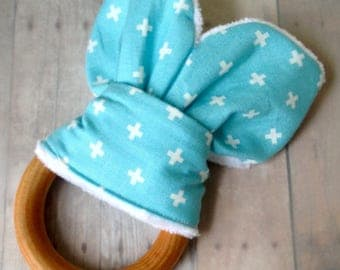 Bunny Ear Teether, Wooden Teething Ring with Fabric, Baby Toy, Natural, Organic, Safety Compliant Crinkle Material, Sensory Toy, Baby Gift