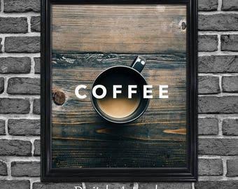 Printable Coffee Sign, Coffee Shop sign, Coffee dorm room wall decor, Coffee bar sign, Coffee lovers gift, Coffee wall art, Coffee apartment