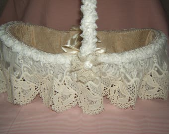 Romantic inspiration... Antique wicker basket, flying embroidered ruffled tulle, silk flowers