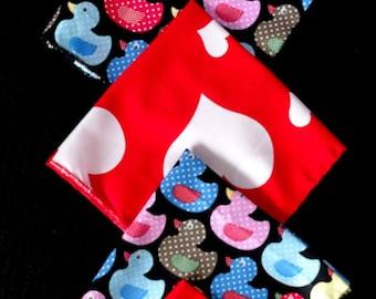 """SET of 5 handkerchiefs fabric """"duck black"""" & """"Heart"""""""