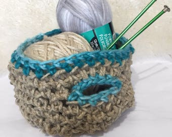Crocheted Hemp Basket w/ Turquoise Accents