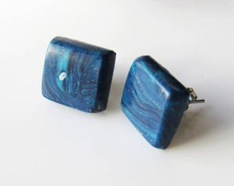Square steel effect stone lapis lazuli with polymer clay earrings