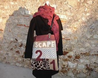 large shoulder bag - canvas - faux fur - old pink canvas - figure leather