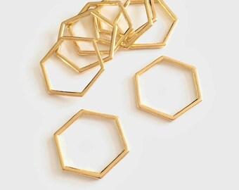 Set of 10/20 spacer gold Hexagon 20mm closed rings - BK - JJ5