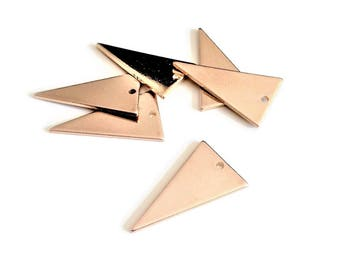Set of 6 champagne gold Triangles, 23mm, sequin - HD - EE5 charm