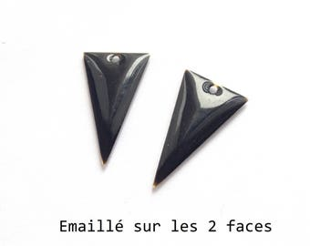 Set of 2 black enamel Triangles, 22x13mm charm sequin studded with 2 sides