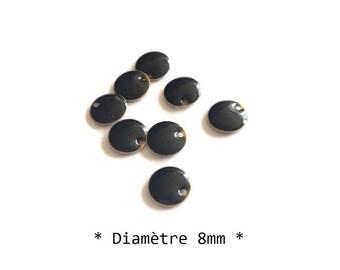 8mm - set of 8 black sequins