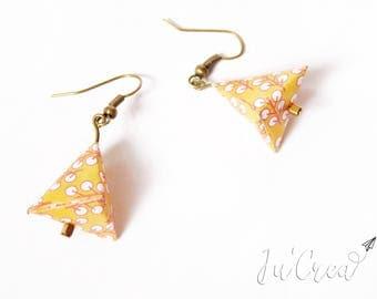 Origami earrings yellow triangle geometric