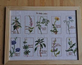 cross-stitched plants frame