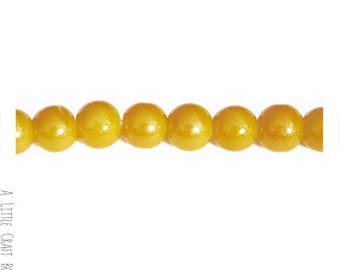 40 frosted glass beads 8mm - yellow mother of Pearl