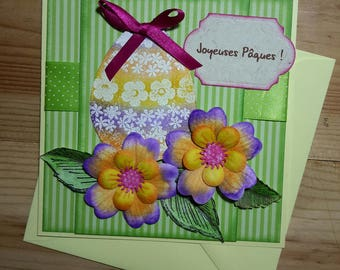 Cheerful and colorful, green and orange Easter card