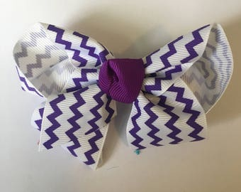Purple Chevron Bow
