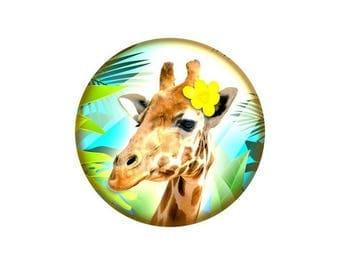 2 cabochons 14 mm glass giraffe - 14 mm