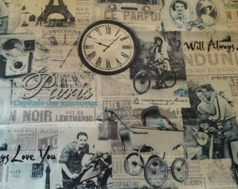 "Fabric vintage 45 X 50 cm ghost ""50s Paris"""